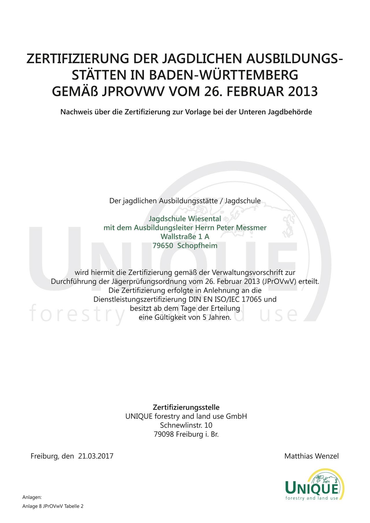 Zertifizierung der jagdlichen Ausbildungsstätte/ Jagdschule ...